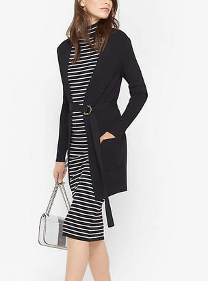 Michael Kors Stretch-Viscose Ribbed Belted Cardigan $140 thestylecure.com