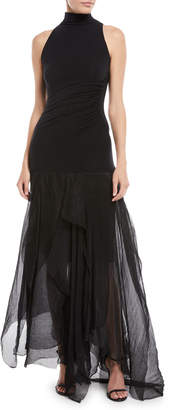 Urban Zen Halter-Neck Sleeveless Fitted-Bodice Chiffon-Bottom Dress