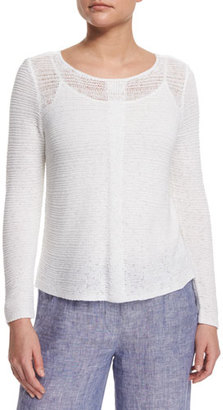 NIC+ZOE Long-Sleeve Sheer Illusion Sweater Top $128 thestylecure.com
