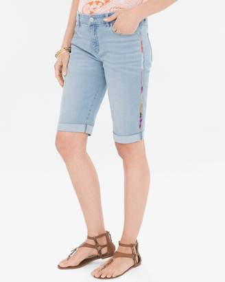 Chico's Chicos Side-Embroidered Girlfriend Shorts- 12 Inch Inseam