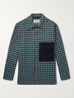 Acne Studios Oversized Twill-Trimmed Checked Flannel Overshirt - Men - Purple