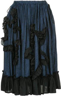 Miyao star print frill trim skirt