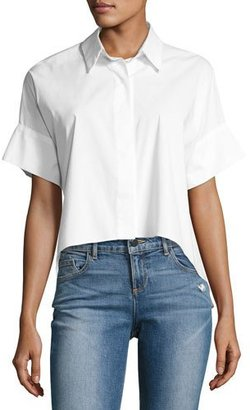 Alice + Olivia Edyth Short-Sleeve High-Low Drapey Button-Down Shirt, White $195 thestylecure.com