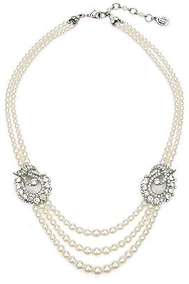 Ben-Amun Jewelry Women's Pearl & Crystal Deco Station Pearl Strand Costume Jewelry Necklace for Bridal Wedding Anniversary