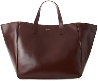 Jil Sander Burgundy Large Edge Leather Shopper