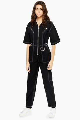 Topshop Womens Short Sleeve Utility Boiler Suit - Black