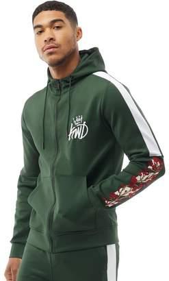 Green & Black Kings Will Dream Mens Montross Chevron/Floral Hoody Forrest Green/Black