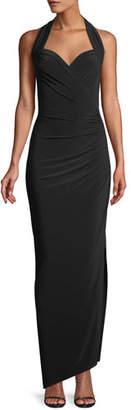 Norma Kamali MJ Sleeveless Halter Gown w/ Draped Side