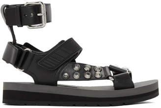 Prada Black Studded Velcro Sandals