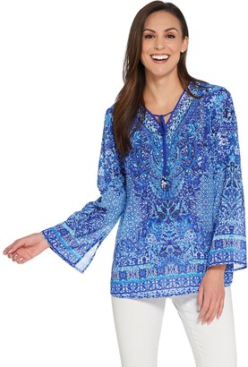 Belle By Kim Gravel Belle by Kim Gravel Printed Woven V-Neck Tunic with Tassels