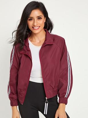 Shein Side Stripe Zipper Through Windbreaker Jacket