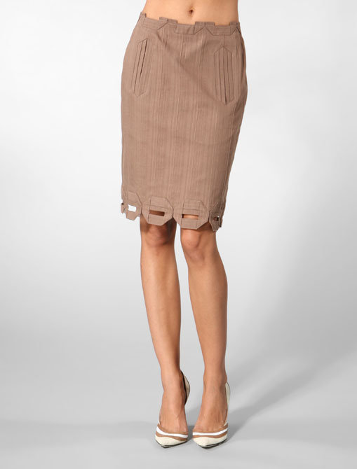 Twinkle by Wenlan Pencil Box Skirt in Bark
