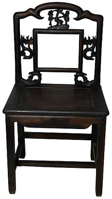 One Kings Lane Vintage Antique Chinese Wood Chair with Fretwork - FEA Home