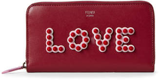 Fendi Black Cherry Love Leather Zip-Around Wallet