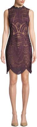 Bardot Alice Lace Scalloped Sleeveless Cocktail Dress