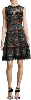 Elie Tahari Maritza Sleeveless Floral-Embroidered Satin Dress, Black Multi