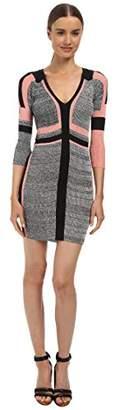 Just Cavalli Women's 3/4 Sleeve Colorblock Slim Dress LG