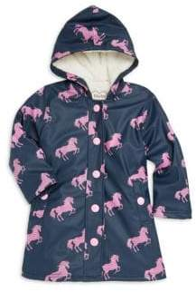 Hatley Little Girl's& Girl's Horse Sherpa Rain Coat