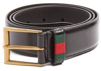 Gucci Web Stripe Leather Belt - Mens - Black