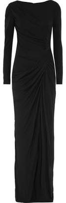 Badgley Mischka Draped Stretch-Crepe Gown