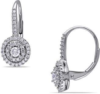 Concerto 14K White Gold 0.5 Total Carat Weight Diamond Double Halo Earrings