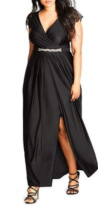 City Chic Plus Flirty Drape Maxi Dress
