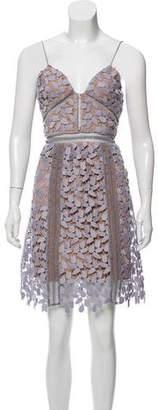 Self-Portrait Embroidered Mini Dress