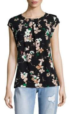 Floral-Print Bow Front Top