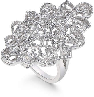 Macy's Diamond Filigree Statement Ring (1/10 ct. t.w.) in Sterling Silver