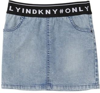 DKNY Logo Jacquard Stretch Denim Skirt