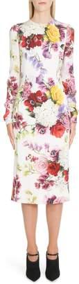 Dolce & Gabbana Floral Print Stretch Silk Charmeuse Sheath Dress