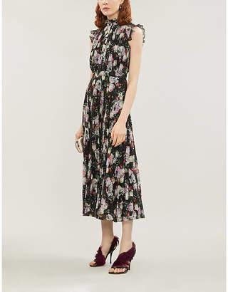Erdem Roisin pleated floral-print silk-crepe midi dress