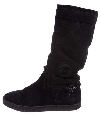 Chanel Suede CC Boots