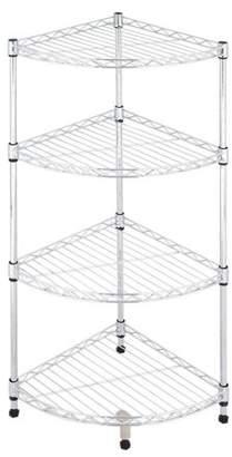 Ktaxon 4-Tier Corner Rack Display Shelf Kitchen Bathroom Storage Wire Shelving,White