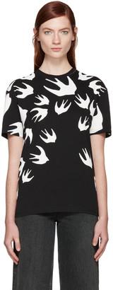 McQ Alexander Mcqueen Black Swallows T-Shirt $190 thestylecure.com