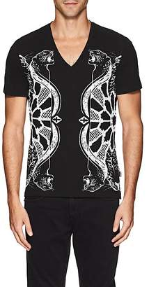 Just Cavalli MEN'S LEOPARD-PRINT COTTON T-SHIRT