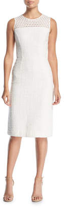 Oscar de la Renta Sleeveless Eyelet Sheath Dress
