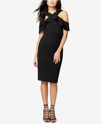Rachel Roy Ruffled Scuba Cold-Shoulder Dress