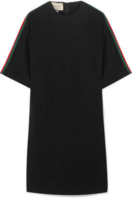 Gucci Oversized Grosgrain-trimmed Stretch-cady Tunic - Black