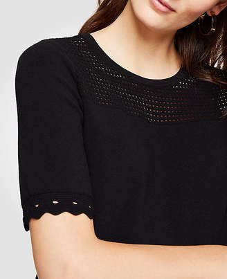 Ann Taylor Perforated Short Sleeve Sweater