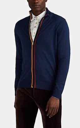 Paul Smith Men's Stripe-Trimmed Fine-Gauge Wool Zip-Front Sweater - Blue