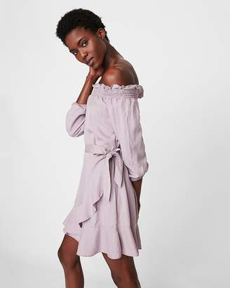 Express Ruffle Wrap Off The Shoulder Balloon Sleeve Dress