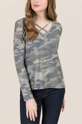 Sweet Claire Deanna X Neck Camo Terry Fashion Tee - Dark Olive