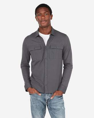 Express Signature Wrinkle-Resistant Performance Double Pocket Military Long Sleeve Polo