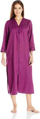 Miss Elaine Women's Brushed Back Satin Long Zip Robe