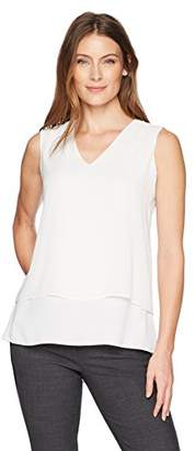 Chaus Women's Sleeveless Solid Double Layer Blouse