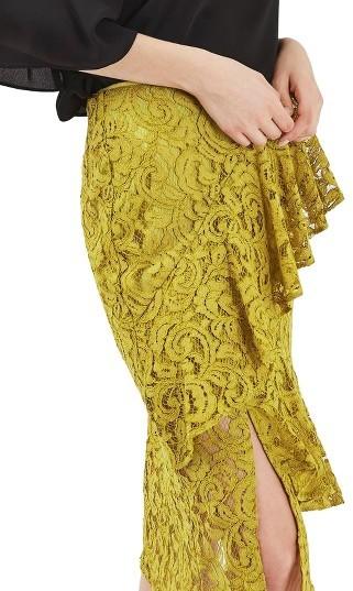TopshopWomen's Topshop Lace Ruffle Midi Skirt