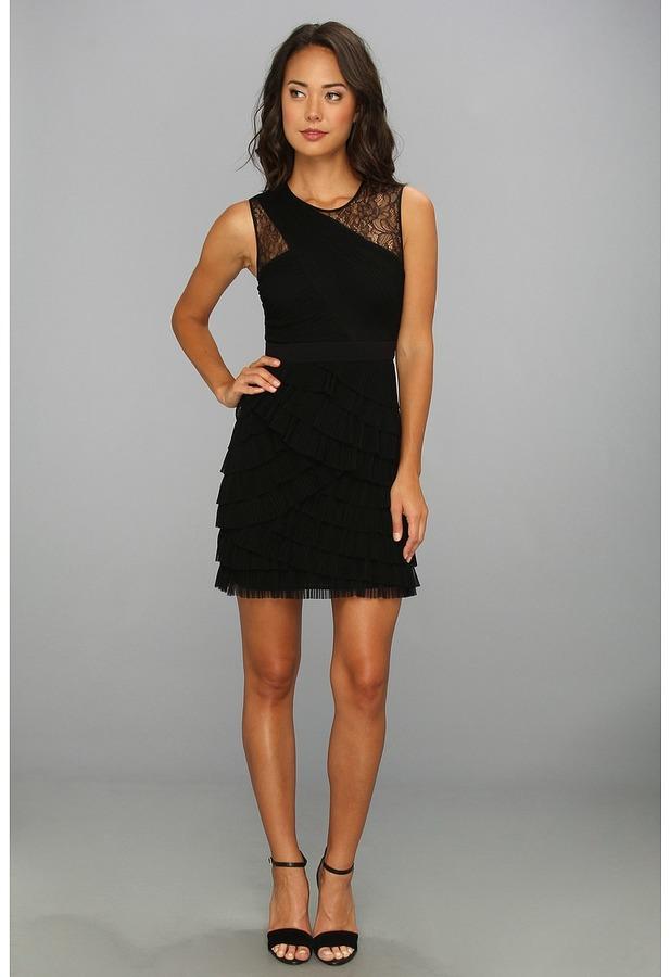 BCBGMAXAZRIA Jaya Pleated Sleeveless Dress (Black) - Apparel