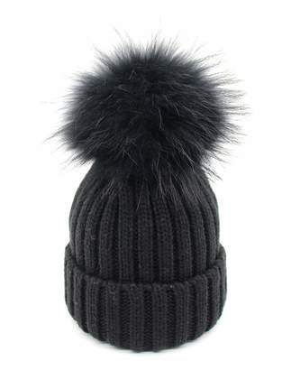 958c25f551f CHAOSHUO Winter Knitted Beanie Hat Real Fur Decorated Pom Womens Girls Warm