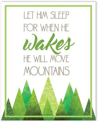 Möve Children Inspire Design Wall Decor Lettering Inch Print, Let Him Sleep For When He Wakes He Will Mountains, Nursery Décor Quotes, Mountains Quote, Inspirational Baby Quote Wall For Home Decor or Boys Bedroom